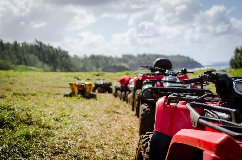 Quad bikes lined up ready for a tour in Mallorca