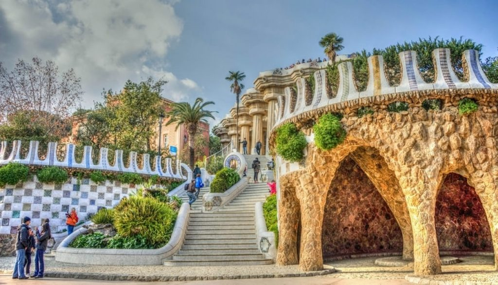 Outside of Park Guell in Barcelona