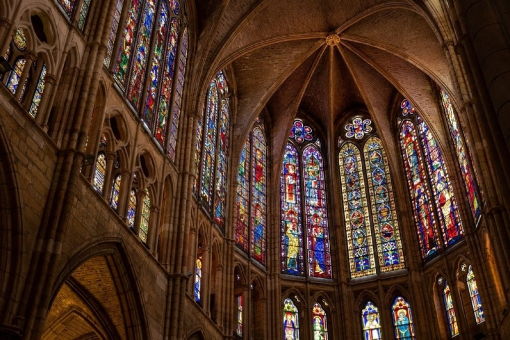 Cathedral with stained glass windows