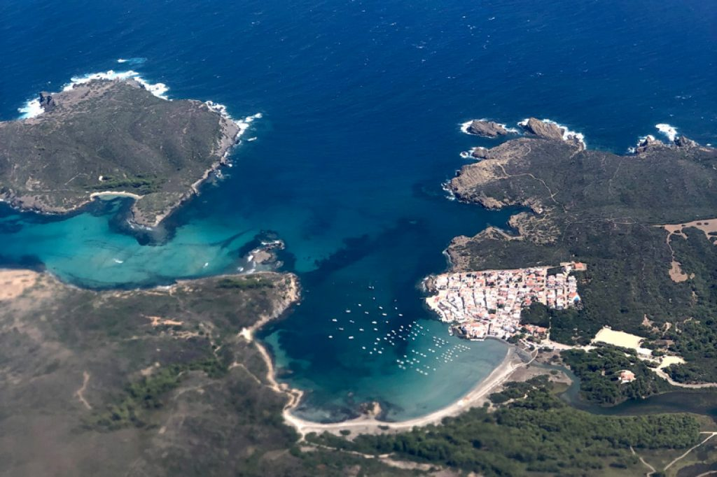 aerial view of menorca from airplane