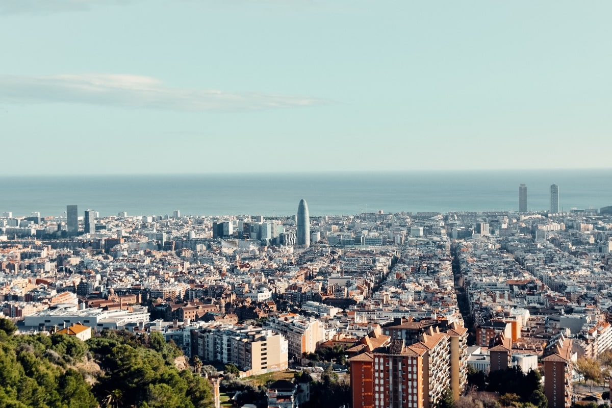 Wide shot of the city of Barcelona